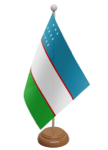 Uzbekistan Desk / Table Flag with wooden stand and base